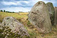 The long barrow of Gronsalen on Moen Island, Denmark, Scandinavia, Europe. Die Megalithanlage Grönsalen auf der Insel Mön, Dänemark, Skandinavien, Eur...