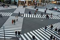 01. 01. 2018, Tokyo, Japan, Asia - A pedestrian crossing in Tokyo's Ginza district.