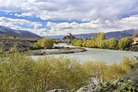 Stakna Monastery and the Indus River in autumn, Ladakh, India.