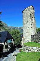 The tower of the castle. Arties town; Lleida province, Spain.