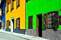 Colorful houses. Arties town; Lleida province, Spain.