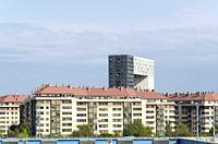 A building view on Cuevas de Almanzora street, Manoteras quarter, Madrid, Spain.