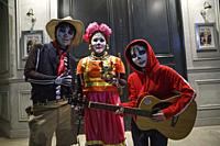 October 31, 2018, Tokyo, Japan - Costumed partygoers enjoy Halloween celebrations in Shibuya. People gather to celebrate Halloween every year in Shibu...