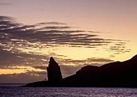 Pinnacle Rock on Bartolome Island at dawn, Galapagos, Ecuador.