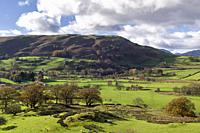 Dale Bottom and Castlerigg Fell beyond in the English Lake District National Park, Cumbria, England.
