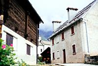Traditional alpine village in Divedro Piedmont valley, alpe Devero Piedmont; Italy.