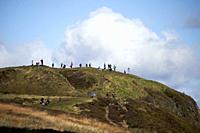 tourists and walkers out on mcarts fort at the top of Cave Hill on a sunny sunday morning, Belfast, Northern Ireland.