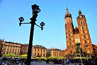 Main square or Rynek: Cathedral of Our Lady of Saint Mary in Krakow, Poland.
