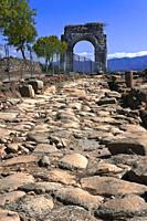 Roman ruins of Caparra, Roman road and Arch cuadrifronte, Via de la Plata, Guijo de Granadilla, Caceres province, Region of Extremadura, Spain, Europe...