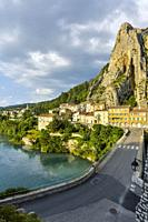 Sisteron at the river Durance, Provence, France, bridge and riverside.