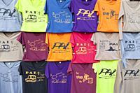 Pai t-shirts display, Pai, Thailand.