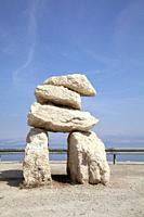 Large Rock Cairn Formation at Dead Sea Viewpoint - Israel.