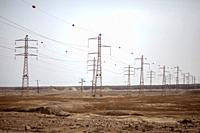 Pylons in the Dead Sea Region of Israel.