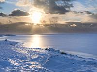 Landscape in the eastern fjords of Iceland between Hoefn and Djupivogur. europe, northern europe, iceland, february.