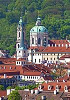 Czech Republic Prague - St. Nicolas Church and Rooftops of Lesser Quarter.