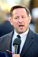 Ed Vaizey MP (Con: Wantage) being interviewed on College Green, Westminster, November 2018.