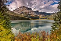 """Emerald Lake in Fall Yoho National Park British Columbia Canada. """"""""It is the largest of Yoho's 61 lakes and ponds, as well as one of the park's premie..."""