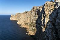 steep coast and lighthouse Far de Formentor, Cap de Formentor, Majorca, Balearic Islands, Spain
