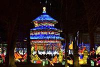 France, Tarn, Gaillac, Festival des lanternes (Chinese Lantern Festival), Illuminated Temple of sky. . The festival celebrates Chinese culture origina...