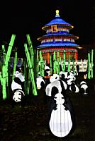 France, Tarn, Gaillac, Festival des lanternes (Chinese Lantern Festival), Pandas and temple od sky. . The festival celebrates Chinese culture originat...