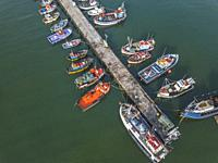 Fishing boats in Kalk Bay Harbour, Cape Town, South africa.