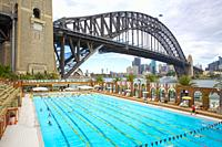 Sydney Harbour Bridge and 50 metre Olympic Swimming Pool at Milsons Point.