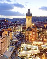 Prague - Christmas Market and Town Hall Tower at The Old Town Square.