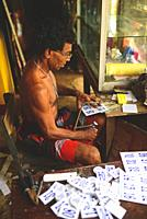 W. S. Pemananda of Chandima Plastic working in his studio, Weligama, Sri Lanka.