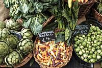 England, London, Borough Market-Organic vegetables on display.