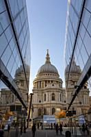 England ,London, Saint Pauls Cathedral fom One New Change High-end Shopping complex at night.