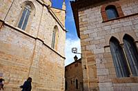 Partial vew of Santa Maria la Major Church and El Casal dels Josa, archive and museum of Montblanc and its region. Montblanc, Tarragona, Catalonia, Sp...