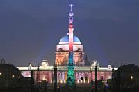 Rashtrapati Bhavan at Night, New Delhi, India.