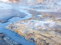 Geothermal area Seltun near volcano Krysuvik on Reykjanes peninsula during winter. Northern Europe, Scandinavia, Iceland, February.
