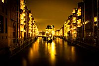Moated Castle, Speicherstadt Hamburg, Germany at Night.