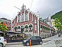 Historic building in Bergen, Norway. Known as the Kjottbasaren it was built in 1876 as Bergen's meat market. It reopened in 1997 with a variety of bus...