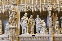 La Cananeenne, scene sculptee, par Thomas Boudin en 1611, ornant la cloture ou tour du choeur de la Cathedrale Notre-Dame de Chartres,Eure et Loir,reg...