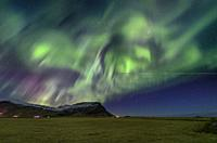 Aurora Borealis, Mt. Eyjafjoll, Iceland.