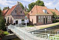 traditional fishermen's houses, enkhuizen, a small town in northern holland, an old fishing village.