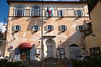 town hall building, seat of the city council, anguillara sabazia, lazio, italy.
