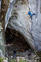 Rock climbing, Baltzola Caves, Biscay, Basque Country, Spain