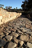 Paved street in the Alcazaba in Merida. Badajoz Province. Extremadura. Spain.
