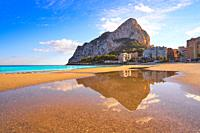 Playa de Fossa beach in Calpe and Ifach penon rock of Alicante in Spain.
