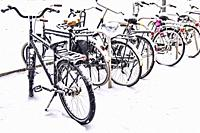 Snowed under bicycles in Eindhoven, The Netherlands, Europe.