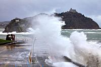 """Construcción Vacia"" by Jorge Oteiza, Tempest in the Cantabrian Sea, Waves and Wind, Explosive Cyclogenesis, Paseo Nuevo, Donostia, San Sebastian, Gip..."