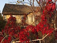 Poland. Siemiatycze town. Old house in autumn.