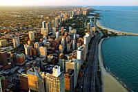 An aerial view of the Chicago Lakefront and Lake Shore Drive.