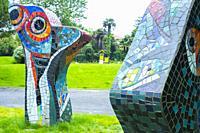 Mosaics in a park. Guetarhy. Nouvelle-Aquitaine region. Pyrénées-Atlantiques department, France. Europe.