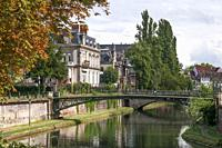 Banks of the River Ill at Strasbourg, Alsace, France.