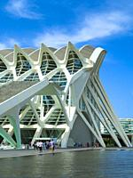 Southern entrance to the Science Museum (Museu de les Ciències) designed by architect Santiago Calatrava in the City of Arts and Sciences complex, Val...