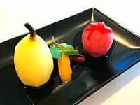 Pear with ice cream.